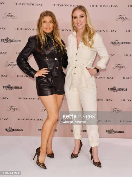Artist-Designer Fergie and Host Liz Trinnear attends the Hudson's Bay celebration of Fergalicious by Fergie Spring 2019 Footwear Collections held at...