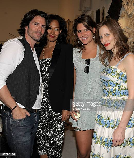 Artist/designer Greg Lauren actress Tracee Ellis Ross Anna Goldwyn and director Liz Goldwyn attend the Los Angeles party for Alteration presented by...