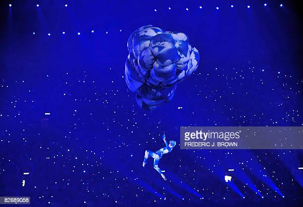 A artiste performs during the opening ceremony of 2008 Beijing Paralympic Games on September 6 2008 at the National Stadium also known as the Bird's...