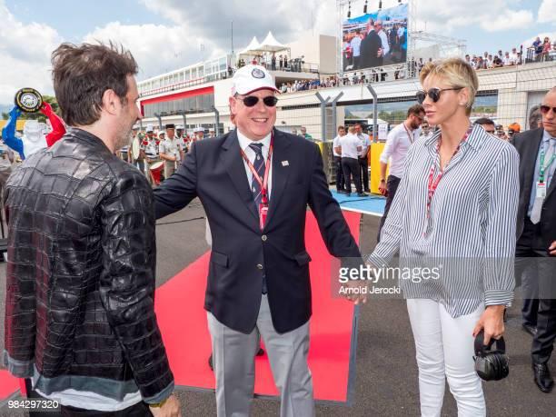 Artiste Richard Orlinski Prince Albert Of Monaco and Princess Charlene Of Monaco attend the Formula One Grand Prix of France at Circuit Paul Ricard...