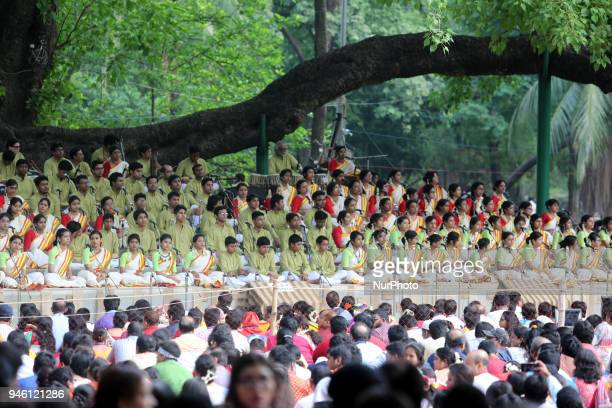 Artistes from Chhayanaut welcomed the Bengali New Year day with Tagore's songs under the banyan tree at the Ramna Park on April 14 2017 in Dhaka...