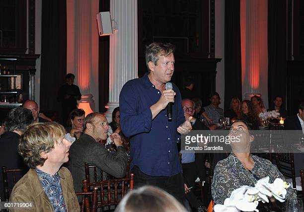 Artist/filmmaker Doug Aitken speaks during MOCA's Leadership Circle And Members' Opening For 'Doug Aitken Electric Earth' at The Geffen Contemporary...