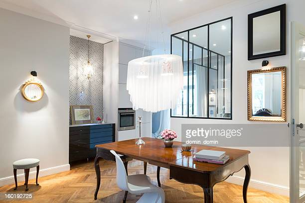 artistic and stylish apartment interior, living room and kitchen - mirror frame stock photos and pictures