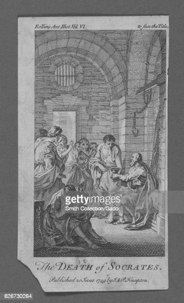 Artistic depiction of the death of Socrates showing Socrates about to drink poison and using the moment as a lesson for his pupils 1749 From the New...