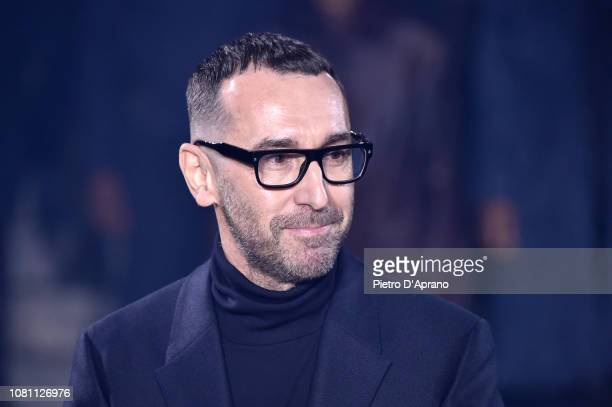 Artistic Director Alessandro Sartori aknoledges the applause of the audience after at the Ermenegildo Zegna show during Milan Menswear Fashion Week...
