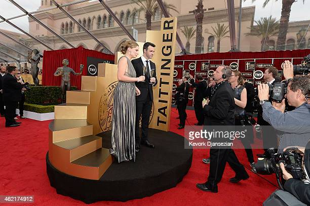 Artistic director and ambassador of Taittinger Globaland Vitalie Taittinger and actor Reid Scott attend the 21st Annual Screen Actors Guild Awards at...