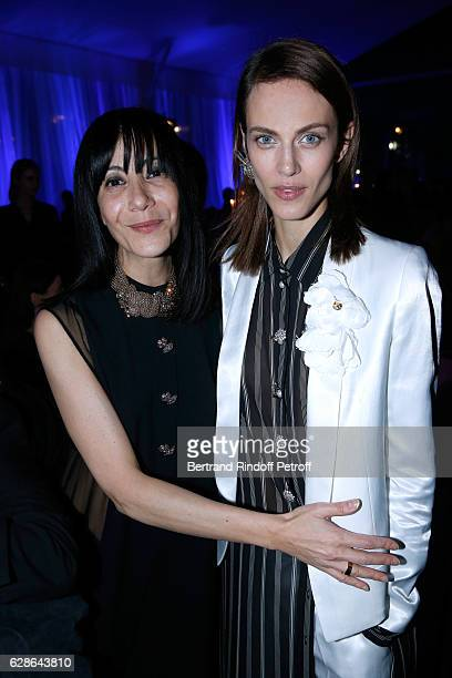 Artistic Director and Stylist of Lanvin Women Bouchra Jarrar and Model Aymeline Valade dressed in Lanvin attend the Annual Charity Dinner hosted by...