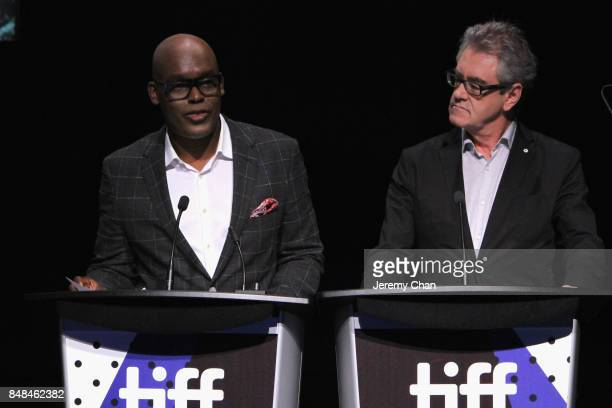 Artistic Director Cameron Bailey and TIFF Director CEO Pier Handling speak on stage the 2017 TIFF Awards Ceremony at TIFF Bell Lightbox on September...
