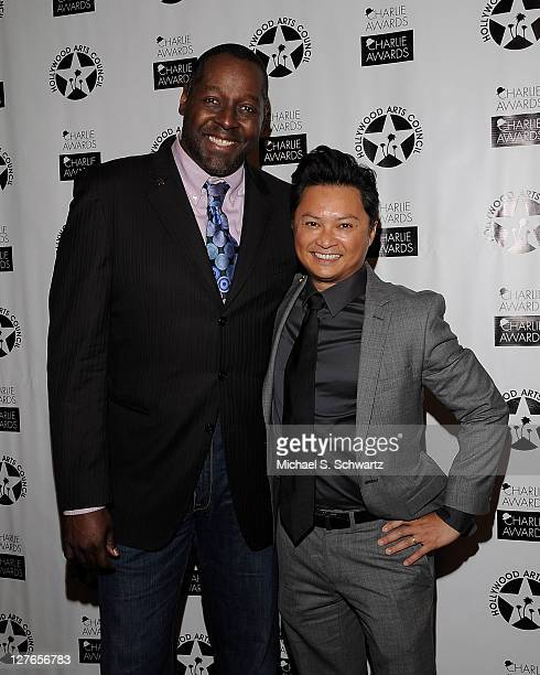 Artistic Director Celebration Theatre Michael Shepperd and actor Alec Mapa pose during the Hollywood Arts Council's 25th Annual Charlie Awards...