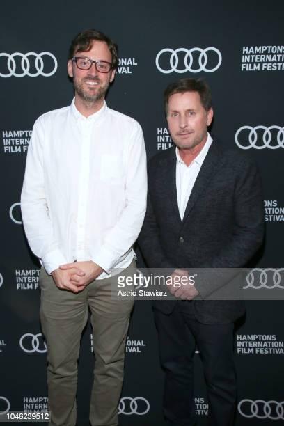 Artistic Director David Nugent and Actor Emilio Estevez arrive at the red carpet for 'The Public' at UA East Hampton Cinema 6 during Hamptons...