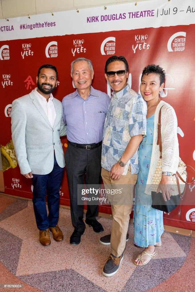 Artistic Director East/West Players Snehel Desai, Actor George Takei, Curtis Jung and Lynn Jung attend the Opening Night Of 'King Of The Yees' at the Kirk Douglas Theatre on July 16, 2017 in Culver City, California.
