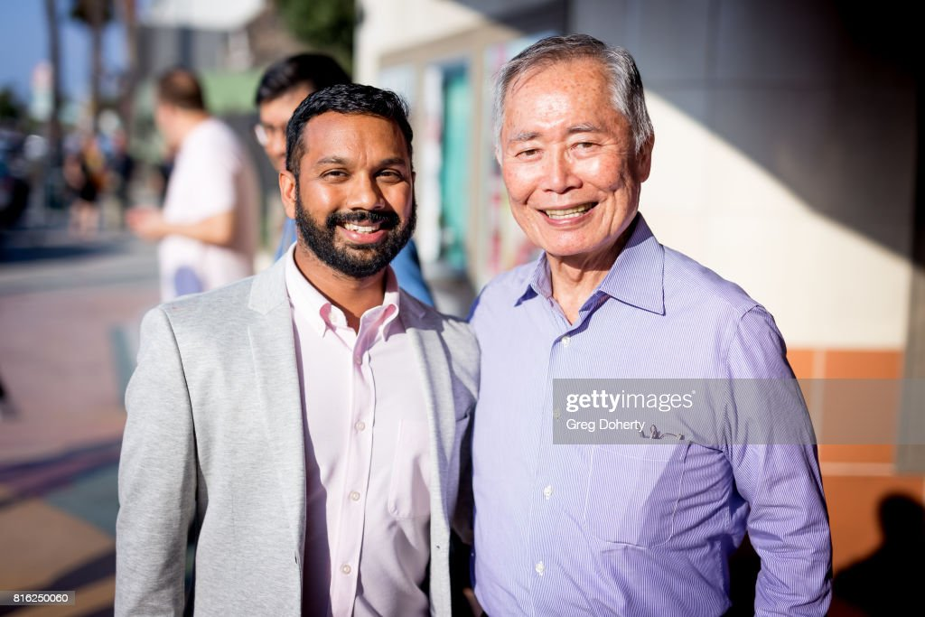 Artistic Director East/West Players Snehel Desai andl Actor George Takei attend the Opening Night Of 'King Of The Yees' at the Kirk Douglas Theatre on July 16, 2017 in Culver City, California.