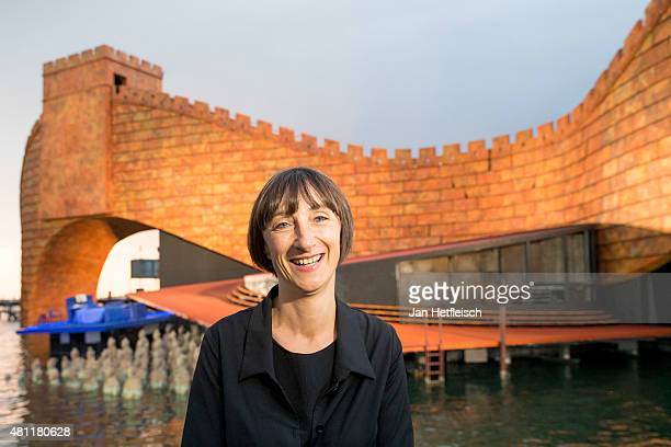 Artistic director Elisabeth Sobotka poses for a picture in front of the stage during a rehearsal for the opera 'Turandot' prior the Bregenz Festival...
