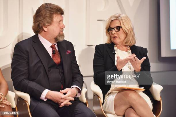Artistic Director for The Public Theater Oskar Eustis and Senior Legal and Investigative Correspondent for NBC News Cynthia McFadden speak onstage...