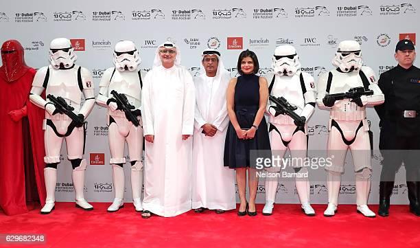 Artistic Director Masoud Amralla Al Ali DIFF Chairman Abdulhamid Juma and Managing Director of DIFF Shivani Pandya attend the Closing Night Gala...