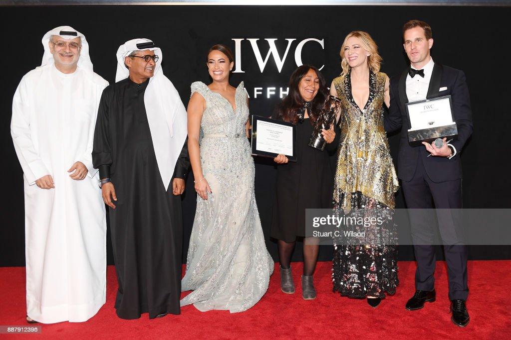 DIFF Artistic Director Masoud Amralla Al Ali, DIFF Chairman Abdulhamid Juma, Hend Sabry, IWC filmmaker winner Haifaa al-Mansour, Cate Blanchett and IWC Schaffhausen CEO Christoph Grainger-Herr attend the sixth IWC Filmmaker Award gala dinner at the 14th Dubai International Film Festival (DIFF), during which Swiss luxury watch manufacturer IWC Schaffhausen celebrated its long-standing passion for filmmaking at One And Only Royal Mirage on December 7, 2017 in Dubai, United Arab Emirates.