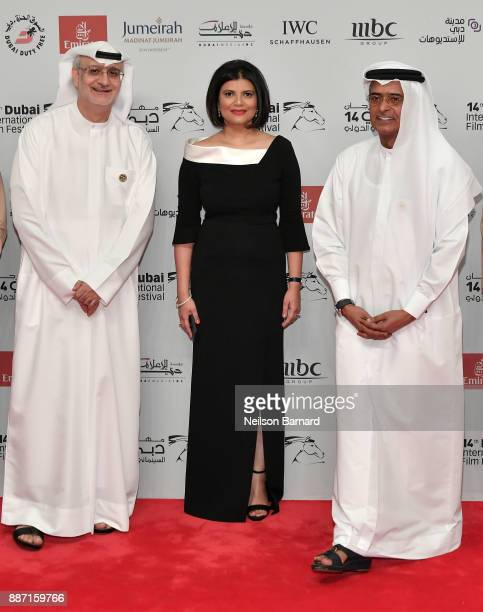 Artistic Director Masoud Amralla Al Ali Managing Director of DIFF Shivani Pandya and DIFF Chairman Abdulhamid Juma attend the Opening Night Gala of...