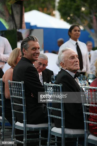 Artistic Director Michael Ritchie and actor Kirk Douglas enjoy the festivities during the grand reopening gala for the Mark Taper Forum on September...