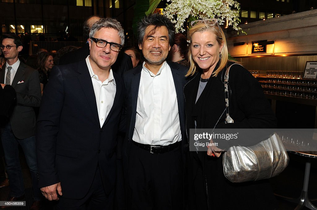 Artistic Director Neil Pepe, playwright David Henry Hwang and Mary McCann attend The 2013 Steinberg Playwright 'Mimi' Awards presented by The Harold and Mimi Steinberg Charitable Trust at Lincoln Center Theater on November 18, 2013 in New York City.