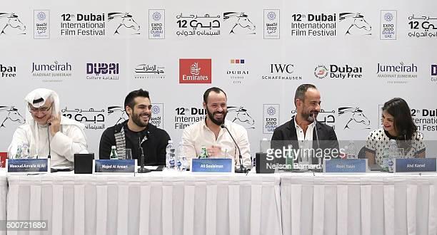 Artistic Director of DIFF Masoud Amralla Al Ali director Majid Al Ansari actor Ali Suliman producer Rami Yasin and actress Ahd Kamel attend the...