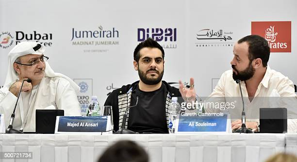 Artistic Director of DIFF Masoud Amralla Al Ali director Majid Al Ansari and actor Ali Suliman attend the 'Zinzana ' press conference during day two...