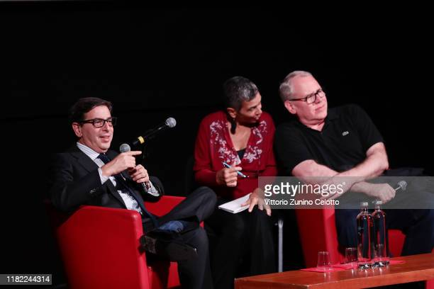 Artistic Director of Festival Antonio Monda and Bret Easton Ellis attend the masterclass during the 14th Rome Film Festival on October 20 2019 in...
