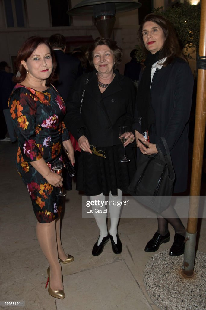 Artistic director of the FIAC Jennifer Flay, Curator Caroline Bourgeois and curator for Contemporary art and artistic director for the 57th Biennale of Venice 2017 Christine Macel attend the opening of Damien Hirst 'Treasures From The Wreck Of The Unbelievable' new exhibition on April 8, 2017 in Venice, Italy.