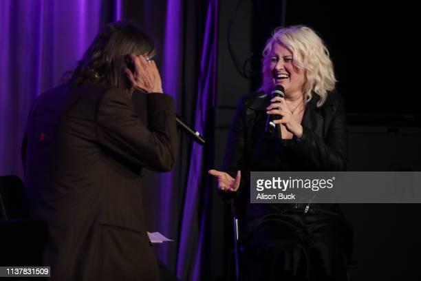 Artistic Director of the GRAMMY Museum Scott Goldman and Paula Cole speak onstage during The Drop Paula Cole on April 17 2019 in Los Angeles...