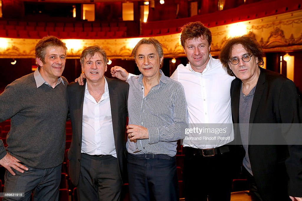 Artistic director of 'Theatre de Paris' Stephane Hillel, actors of the drama Daniel Auteuil, Richard Berry, Co-owner of the Theater Richard Caillat and autor of the drama Eric Assous pose after the last theater play of 'Nos Femmes' at 'Theatre de Paris' on February 16, 2014 in Paris, France. With 150 performances for 160000 spectators, this drama made a 'complete gauge' and has been the triumph of 2013.