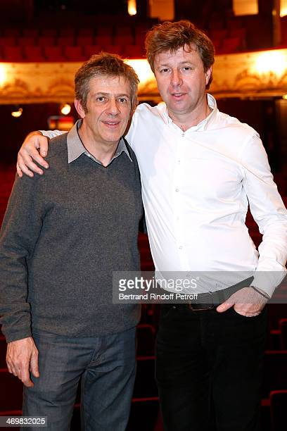 Artistic director of 'Theatre de Paris' Stephane Hillel and Coowner of the Theater Richard Caillat pose after the last theater play of 'Nos Femmes'...