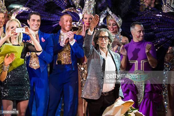 Artistic Director Pierre Rambert and artists acknowledge the audience during the last show of the 'Bonheur' Revue at the Lido on December 2 2014 in...