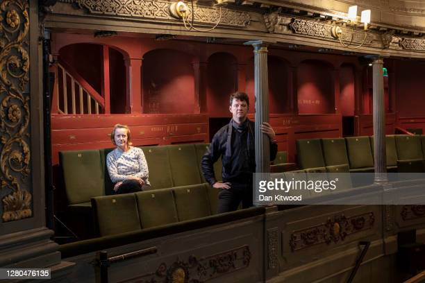 Artistic Director Tom Morris, and Executive Director Charlotte Geeves pose for a portrait at the Bristol Old Vic theatre on October 15, 2020 in...