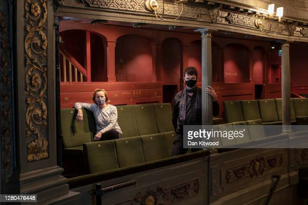 Artistic Director Tom Morris, and Executive Director Charlotte Geeves pose for a portrait wearing face masks at the Bristol Old Vic theatre on...