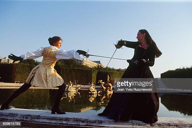 Artistic fencers at Chateau de Versailles