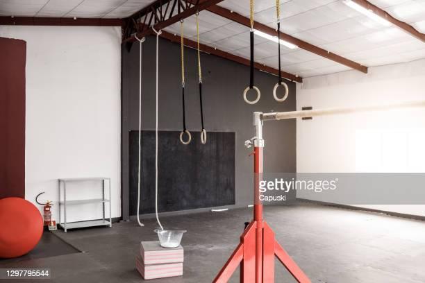 artistic gymnastics equipment room - artistic gymnastics stock pictures, royalty-free photos & images