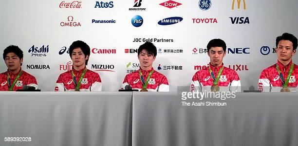 Artistic Gymnastics Men's Team Gold medalists Koji Yamamuro Ryohei Kato Kohei Uchimura Kenzo Shirai and Yusuke Tanaka of Japan attend the Japanese...
