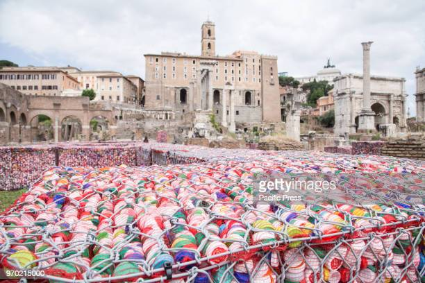 Artistic installation Help the Ocean created by the Italian artist Maria Cristina Finucci positioned on the remains of the Basilica Giulia in the...