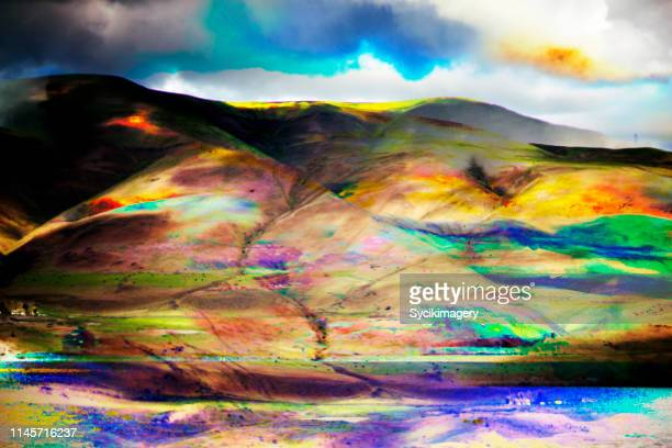 Artistic landscape composition- rolling hills / glitch effect