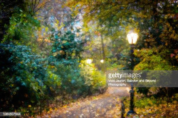 artistic pointilism of walkway at central park, new york city - impressionism stock photos and pictures
