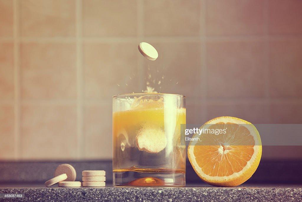Artistic shot of vitamin C family : Stock Photo