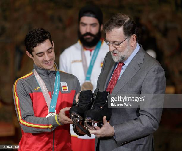 Artistic skater Javier Fernandez, snowboarder Regino Hernandez and Presidente of the Government of Spain Mariano Rajoy attend the official reception...