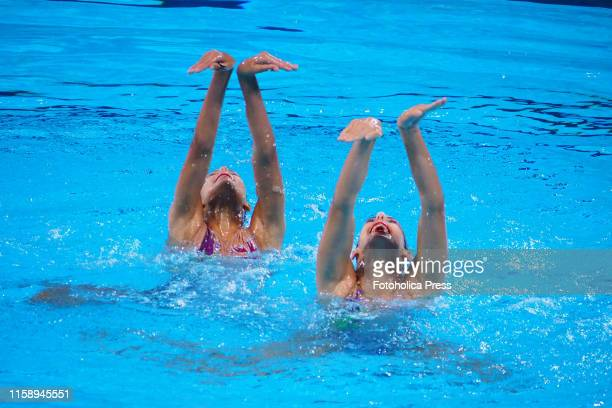 Artistic Swimming Duets Final Round Gabriela Alpajon and Soila Valdes from Cuba in action at the Lima 2019 Pan American Games