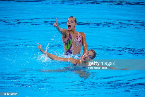 Artistic Swimming, Duets Final Round; Gabriela Alpajon and Soila Valdes from Cuba in action at the Lima 2019 Pan American Games.