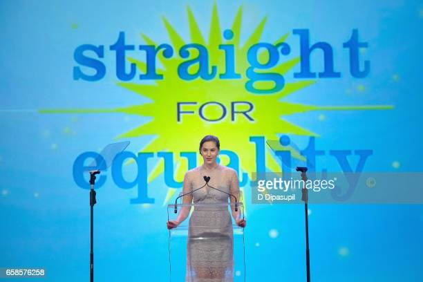 Artist/model Emma Hepburn Ferrer speaks on stage during the ninth annual PFLAG National Straight for Equality Awards Gala on March 27, 2017 in New...