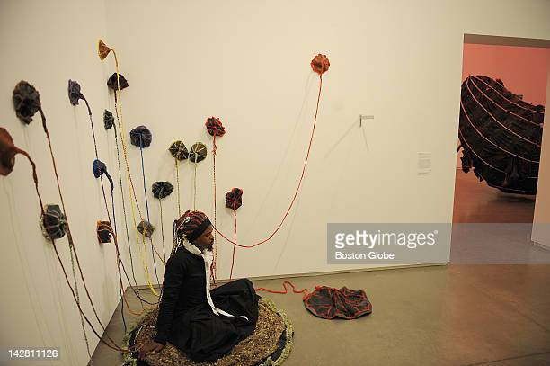 """Artist/performer Nicholas Hlobo performs his 45-minute piece """"Momentum"""" at the Institute Of Contemporary Art on July 29, 2008."""