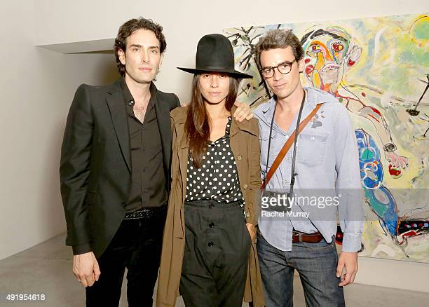Artists Alexander Yulish Tasya Van Ree and Aurelien Levitan attend Alexander Yulish's opening of 'Immovable Thoughts' With Media Partner Interview...
