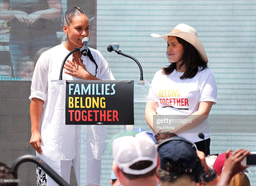 Celebrities show up for the Families Belong Together march