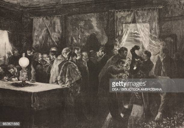 Artists and friends of Mariano Fortuny composing the laurel crowns the night in which the coffin was carried into the church by the painter drawing...