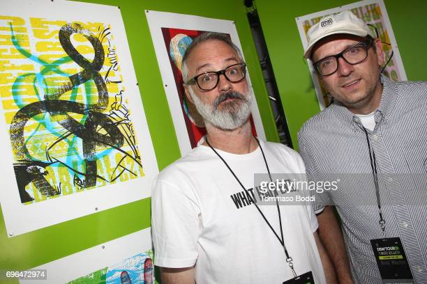Artists Andy Jenkins and Andrew Mueller attend the Long Beach Dew Tour Media Event at Long Beach Convention Center on June 15 2017 in Long Beach...