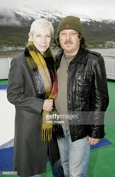 """Artists Annie Lennox and Zucchero attend at a photocall ahead of June 11, 2005 """"46664 Arctic"""" concert, on the costal ship MS Kong Harald on June 10,..."""